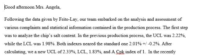Post Draft Email for CASE 02 - Frito-Lay's Quality-Controlled Potato Chips