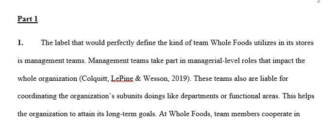 What label would best describe the type of team that Whole Foods uses in its stores